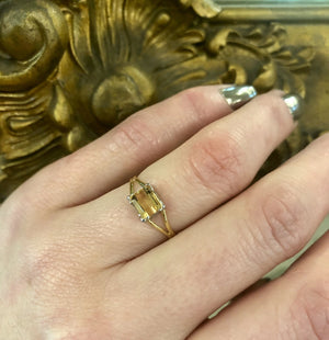 Georgian-Inspired Imperial Topaz Ring in Platinum and 18k Gold