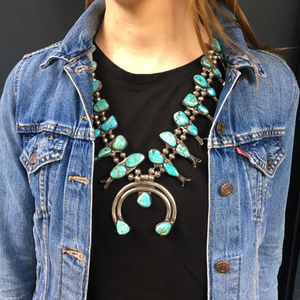 Large Vintage Navajo Squash Blossom Necklace with Naja