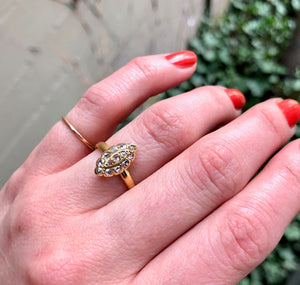Petite Navette Ring with Rosecut Diamonds