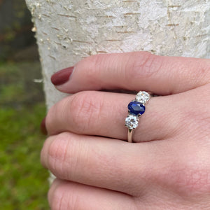 Delightful 3 Stone Sapphire and Diamond Ring