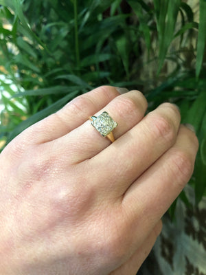 Vintage 1940's Cluster Diamond Engagement Ring