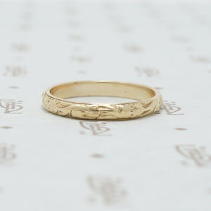 The Softly Engraved Yellow Gold Band