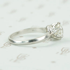 side view old euro 1.77 ct diamond solitaire in platinum