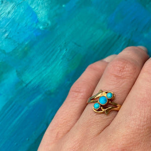 Lovely Old Gold Ring with Robins Egg Blue Turquoise