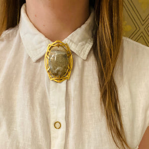 Massive Gorgeous Gold Quartz Brooch in Gold Art Nouveau Frame
