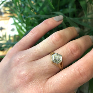 Vintage 1930's Heavy 2 tone Diamond Ring