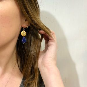 Brass & Sterling with Lapis Drop Earrings by Brin