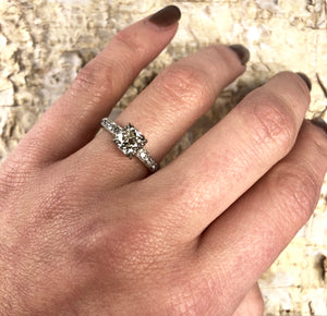 Vintage Platinum and Old Mine Cut Diamond Engagement Ring
