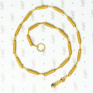 18k yellow gold fancy antique tube chain necklace with split ring