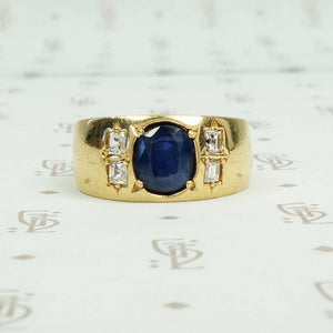 18k yellow gold oval sapphire and square omc diamonds gypsy set band