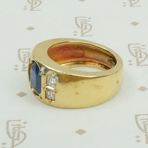 18k Gold Sapphire and Diamond Gypsy Band