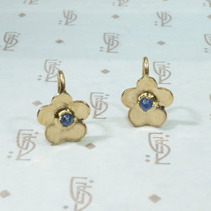 18k yellow gold and sapphires petite earrings