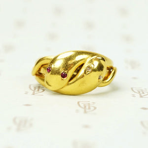 Entwined Snakes Ring 18k Yellow Gold Ruby and Diamond Eyes