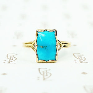 sleeping beauty turquoise in recycled 18k yellow gold hand crafted ring