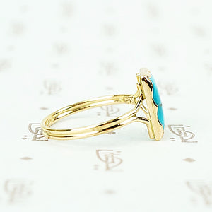 sleeping beauty turquoise in recycled 18k yellow gold hand crafted ring side view