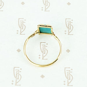 sleeping beauty turquoise in recycled 18k yellow gold hand crafted ring profile