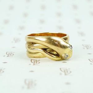 antique 18k yellow gold wide coiled snake ring with rose cut diamond eyes
