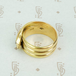 antique 18k yellow gold wide coiled snake ring with rose cut diamond eyes view of back featuring 3 coils