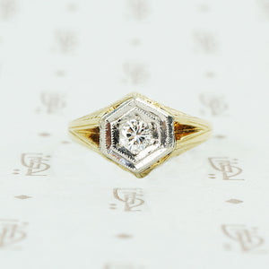 1920's 2 tone gold diamond mens ring