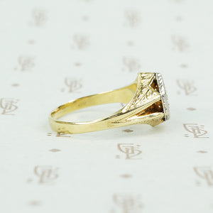 1920's 2 tone gold diamond mens ring side view