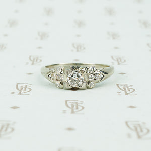 vintage 1930's white gold engagement ring