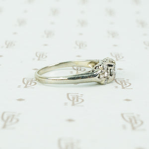 vintage 1930's white gold engagement ring side view