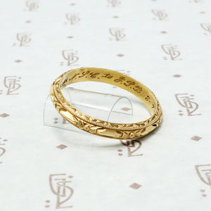 1937 14k gold engraved wedding band