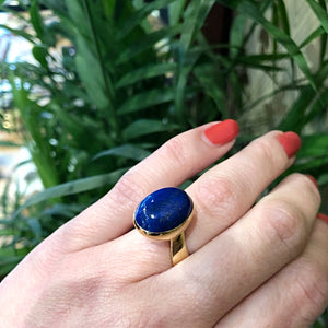 Signed Jens Asby Lapis and Yellow Gold Ring