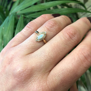 The Opal and Old Mine Diamond Navette Ring