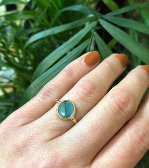 Uniquely Beautiful Black Opal Ring by GSL