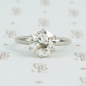 2.16 carat old european cut platinum solitaire ring