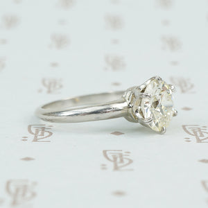 2.16 carat old european cut platinum solitaire ring side