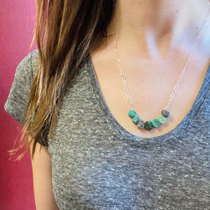 Rough Hewn Turquoise & Silver Necklace by Brin
