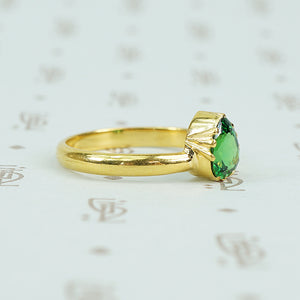 22k recycled gold and tsavorite garnet ring
