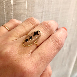 Spotted Agate Vintage Gold Conversion Ring