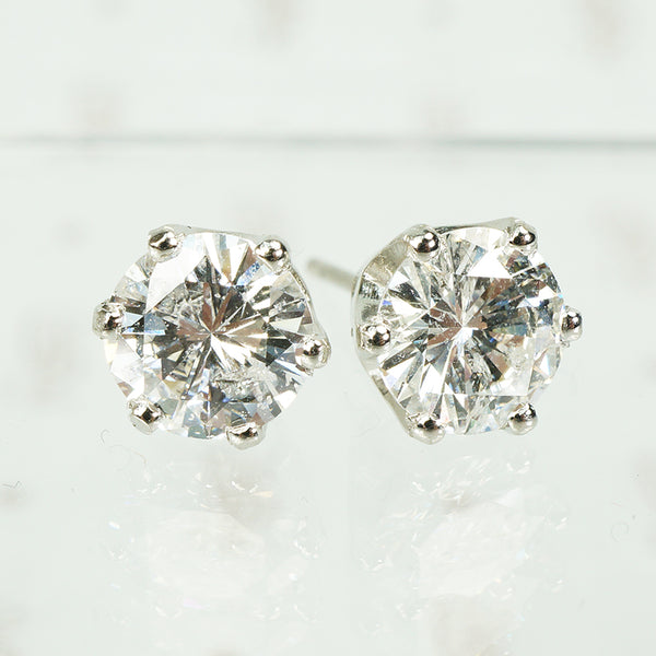 2 Carat Diamond Platinum Stud Earrings