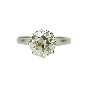 2 Carat Old Euro Vintage Platinum Solitaire Engagement Ring - Gem Set Love