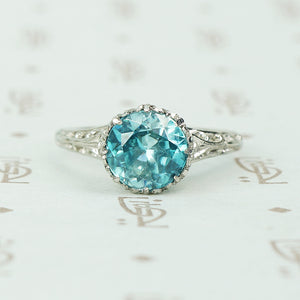 filigree platinum 2 carat natural blue zircon