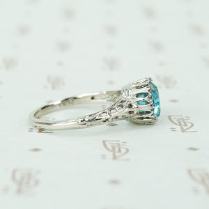 Platinum Filigree Two Carat Blue Zircon Solitaire