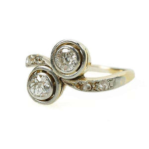 Edwardian Mine Cut Double Diamond Ring Platinum and 18k Yellow Gold