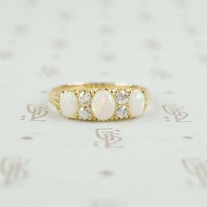 antique opal and diamonf ring in gold