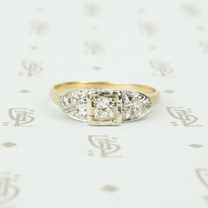 vintage 1940's 2 tone gold and diamond engagement ring