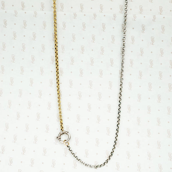 long 2 tone chain with big charm ring
