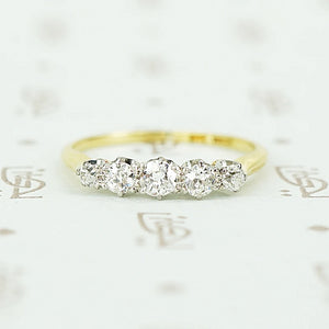 5 diamond vintage band set with oec in platinum on 18k yellow gold