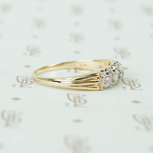 Fancy Vintage 1940's 2 tone Gold and Diamond Band