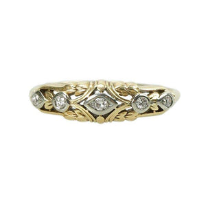 Beautifully detailed 2 tone Gold and Diamond Band