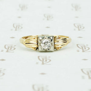 2 tone 14k gold diamond engagement ring circa 1930
