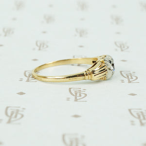 2 tone 14k gold diamond engagement ring circa 1930 side view