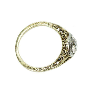 Art Deco Filigree Engagement Ring set with an Old Euro