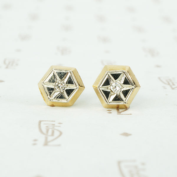 2 tone gold star set diamond stud earrings vintage 1940s